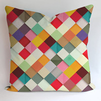 Colorfull Square Geometric Pillow, Pillow Case, Pillow Cover, 16 x 16 Inch One Side, 16 x 16 Inch Two Side, 18 x 18 Inch One Side, 18 x 18 Inch Two Side, 20 x 20 Inch One Side, 20 x 20 Inch Two Side