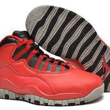 New Air Jordan 10 Retro Kids Shoes Red Black Grey