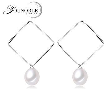 New OL Earrings With Pearls,drop freshwater pearl earrings 925 silver jewelry for women trendy wedding gift 8-9mm gift box