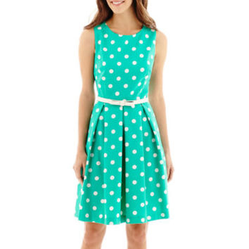R&K Originals Sleeveless Pleated-Skirt Belted Fit-and-Flare Dress