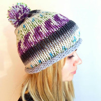 Knitted Purple Hat Grey Green Hat Womens Roll Brim Hat Knitted Pompom Beanie Hat Ski Hat Chunky Knit Hat Sport Hat Colorful Hat Gift for Men