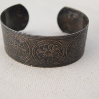 Metal Boho Cuff with Flower Designs