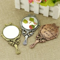 2017 Beauty and the Beast Mirror Necklace Tale As Old As Time Hand stamped letter Necklace True mirror Simple and Portable