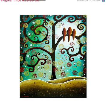 SALE 15% Off - Giclee Art Print - Tree of Life Whimsical Birds Art - Animal Art Abstract Landscape 11x14 Signed