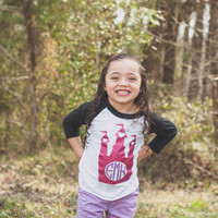 Princess Shirt - Girls Princess Shirt - Girls Monogram Shirt - Toddler Girl - Baby Girl - Princess - Circle Monogram - Glitter Monogram