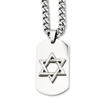Stainless Steel Star of David Dog Tag Necklace - 24 Inch