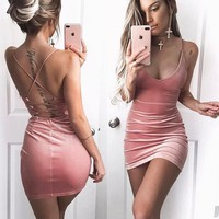 Velvet Deep-V Party Dress