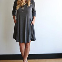 Plus Size Classic Pocket Tunic Dress - Casual Dress with ¾ Sleeves. Fashion Apparel for Women