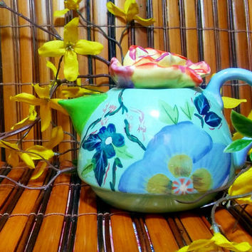 Vintage Lotus Flower China Hand-painted Teapot / Miniature Hand painted Teapot by Porter