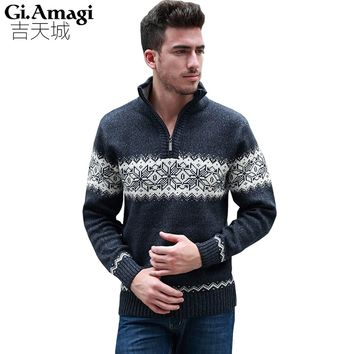 Men's Pullover Sweaters 2017 Autumn Winter New Zipper Collar Long-sleeved Casual Thickening Warm Merino Wool Men