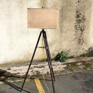 Vintage Tripod Lamp, Wood Tripod Floor Lamp, Rustic Floor Lamp, Beach Floor Lamp, Coastal Decor Beach, Wooden Tripod, Rectangle Lamp Shade