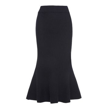 Women vintage skirts autumn winter black plain elegant mermaid skirt wool blends mid calf knitting vintage skirt