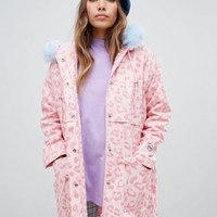 Lazy Oaf leopard parka with contrast faux fur hood at asos.com