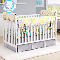 Lemon Zest & Links Organic Crib Rail Cover (Gray Trim)