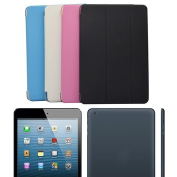 """New Ultra Slim Tri-Fold PU Leather Case with Crystal Hard Back Smart Stand Case Cover for iPad mini 1 2 3 7.9"""" tablet Flip Cover"""