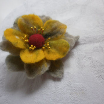 Felt wool jewelry,felted flower,felt brooch,flower  felt brooch, red yellow gray felt brooch flower poppy, gray  yellow jewelry, gray flower