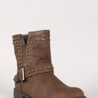 Leatherette Buckle Studded Combat Boot