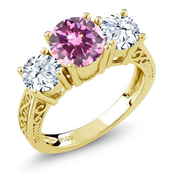 2.28 Ct Pink Zirconia White Topaz 18K Yellow Gold Plated Silver 3-Stone Ring