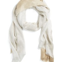 Tan Sparkly Ombre Frayed Scarf