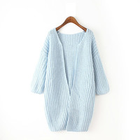 Blue Cable Knitted Cardigan