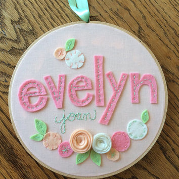 "FELT NAME with FLOWERS- Personalized Girl's Name Embroidery 8"" Hoop Art made with Felt Flowers and Patterned Fabric by Miss Tweedle"