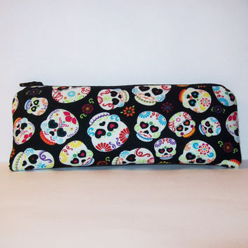 "Day of the Dead Heart Eye Skulls Cotton Padded Pipe Pouch 7.5"" / Glass Pipe Case / Spoon Cozy / Piece Protector / Pipe Bag / LARGE"