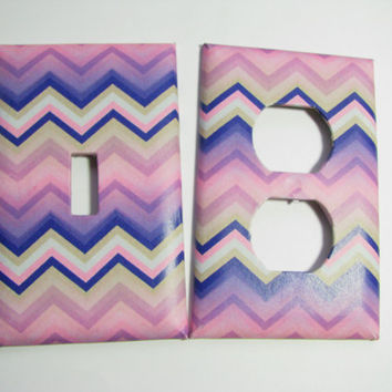 Light Switch Cover Set - Light Switch Plate Pink Blue Purple Chevron