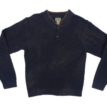 Vintage Ll Bean Henley Style Thermal Sweater - Waffle Knit Blue Grey Brown Outdoors Ivy League Menswear - Men's Size