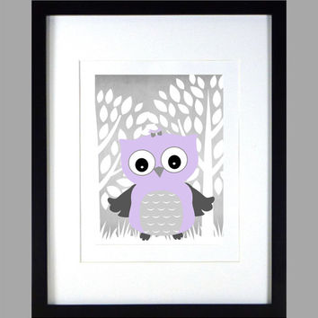 Lavender Gray Owl Enchanted Forest Print, Chevron Baby Nursery Art CUSTOMIZE YOUR COLORS 8x10 Prints Nursery Decor Print Art Baby Room Decor