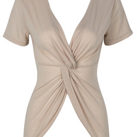 Beige Plunge Neck Twist Front Ruched Tight T-shirt