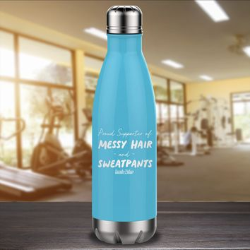 Proud Supporter of Messy Hair Laser Etched Water Bottle