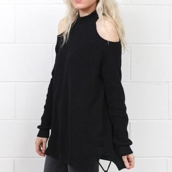 Cold Shoulder Lace Up Sides Tunic Sweater {Black}