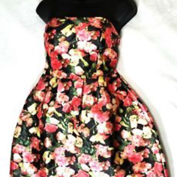Womens Love Culture Floral Strapless Skater Dress Sz L