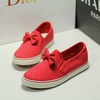 Comfortable Bowknot Polka-dots Loafers