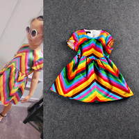 Digitally Print Wave Pattern Children Dress