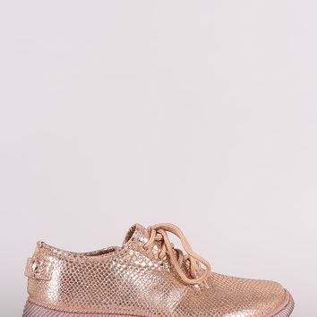 Snakeskin Lace-Up Sneakers | UrbanOG