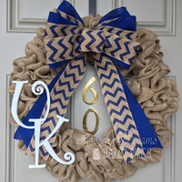 University of Kentucky Burlap Wreath, Kentucky Wildcats, UK, Big Blue Nation Wreath, Basketball Wreath, Football Wreath, Kentucky Wreath