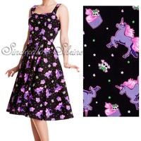 SALE Hell Bunny Black Mystical 50 s Unicorn Cupcake Dress S XS