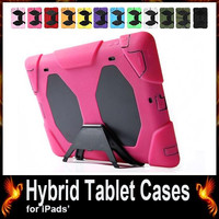 Silicone + PC Tablet PC Cases for iPad MINI 1 2 3 iPad 5 Air 6 Air2 iPad 2 3 4 Tablets Cover with Stand Clip