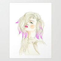 Pink Hair beauty , watercolor portrait  Art Print by Koma Art