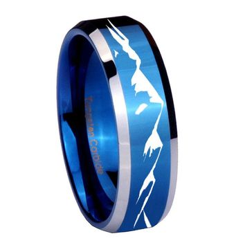 8MM Shiny Blue Sound Wave I love you Bevel Edges 2 Tone Tungsten Laser Engraved Ring