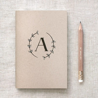 Personalized Monogrammed Journal & Pencil Set, Unique, Recycled - Hand Drawn Painted, Black White, Choose Your Letter