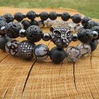 Mens Bracelets, Set of Two Zirconia 18K Gold Plated Cubic Ball Bead Leopard Head Bead Bracelets, Matte Black Onyx Dragon Vein Agate Beaded