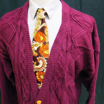 Vintage 90s Revival Burgundy Red Cable Knit Chunky Grunge Cardigan XL Tall