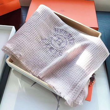 """Hermes"" Popular Women Men Cashmere Cape Scarf Shawl Scarves Accessories Pink"