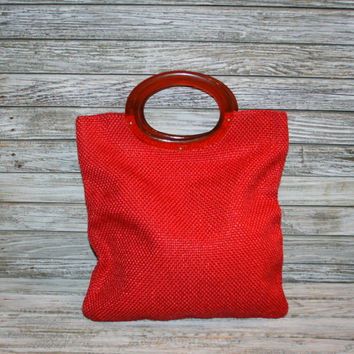 Vintage Red Day Purse Woven Tote Bag 50s 60s Ladies Handbag Lucite Handles