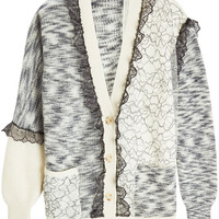 Patchwork Cardigan with Mohair, Wool and Lace - Christopher Kane | WOMEN | KR STYLEBOP.COM