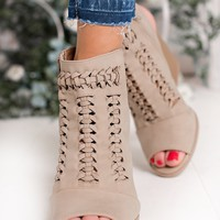 Deep Desire Peep Toe Booties (Light Taupe)