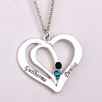 Engraved Couples/Family Birthstone Necklace