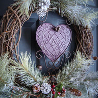 Rustic Christmas Wreaths - JOY - Outdoor Holiday Wreath - Wreaths - Holiday Decorations - Wreaths for Door -  Outdoor Wreaths
